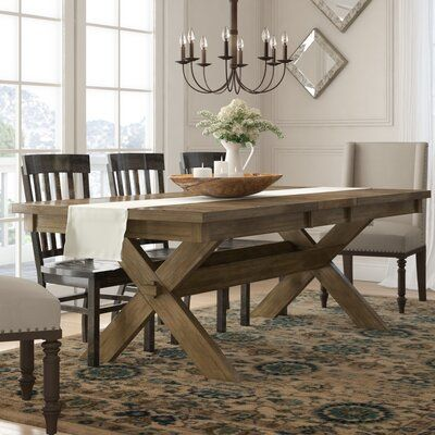 Table Is Too Heavy But I Like The Ensemble Of Styles Poe Cross Buck Extendable Dining Table J Extendable Dining Table Wood Dining Table Dining Room Table