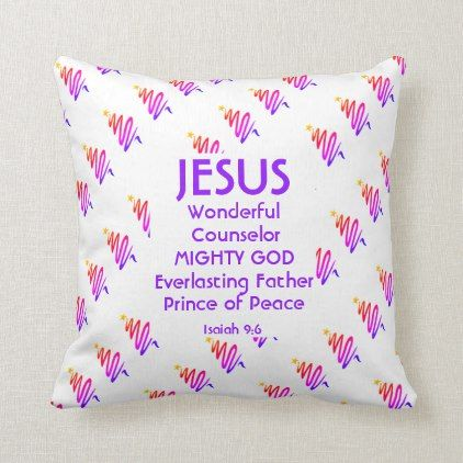 Jesus Christian Scripture Isaiah 9 6 Modern White Throw Pillow Typography Gifts Unique Custom Diy Cream Throw Pillows Throw Pillows White Throw Pillows