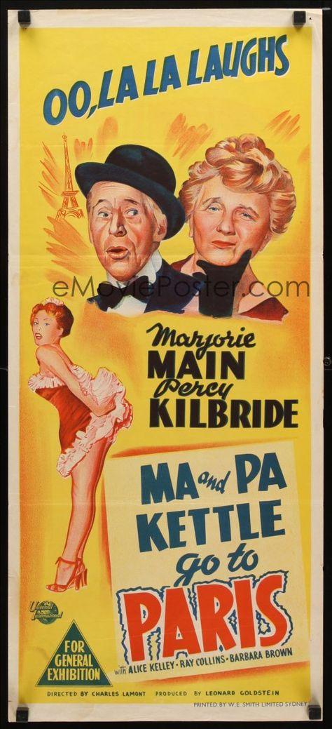 8t649 MA & PA KETTLE ON VACATION Aust daybill '53 hillbillies Marjorie Main & Percy Kilbride!