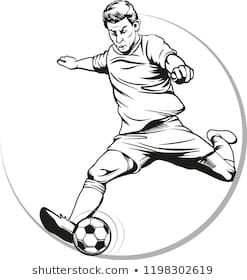 Vector Illustration Picture Of A Soccer Player In Action Kicking A Ball Vector Illustration Illustration Soccer Players