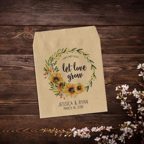 Seed Packet Favor, Seed Packet Favors, Sunflower #weddingfavours #seedpackets #seedfavors #weddingfavors #weddingseedfavor #wildflowerseeds #letlovegrow #letlovebloom #weddingseedpackets #bohowedding #rusticwedding #sunflowerseeds #seedpacketfavor
