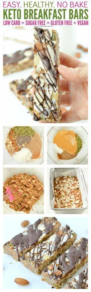 Low carb breakfast bars easy clean eating keto bars, NO baking ! Creamy peanut butter, flaxseed meal, chia seeds, almonds, coconut and more! 100% Sugar free, gluten free paleo breakfast or snacks. #lowcarb #keto #cleaneating #baking #breakfast #proteinbarhomemade,healthyproteinbars,sugarfreebars,lowcaloriebars,wheyproteinbars,nobakebars,proteinbarlowcarb,weightwatchersmoundbars