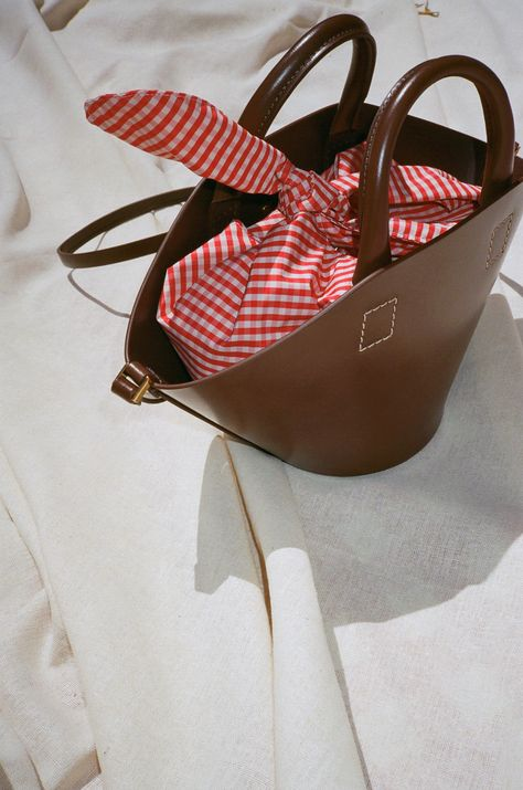 68d67ef472ba TRADEMARK | Small Leather Basket w/ Gingham Insert - Tobacco — Lisa Says Gah