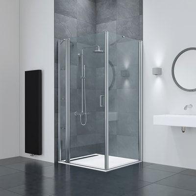 Box Doccia Battente Frameless Bathtub Bathroom Silver