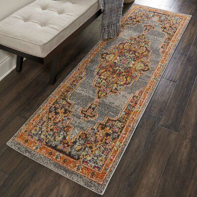 World Menagerie Lundy Traditional Medallion Gray Orange Area Rug Area Rugs Grey Area Rug Persian Style Rug