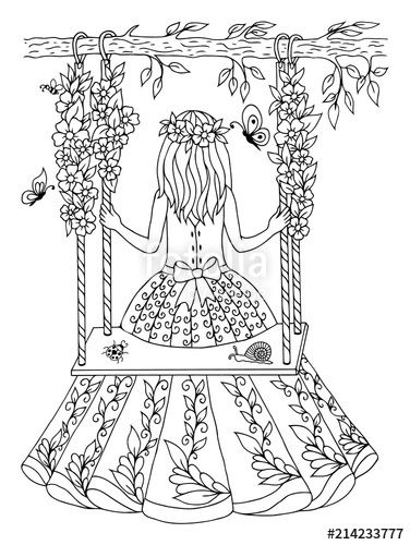 Girl On Swing Drawing Google Search Coloring Pages For Girls Drawings Art Drawings
