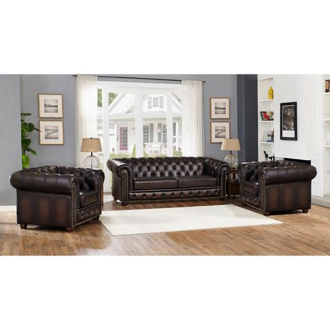 Super Amax Leather Albany Top Grain Leather 3 Piece Sofa And Gmtry Best Dining Table And Chair Ideas Images Gmtryco