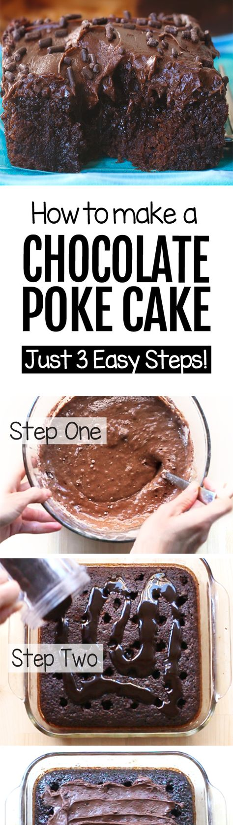 The popular chocolate poke cake recipe that is taking over pinterest, with just 3 easy steps. It's great for a quick dessert for parties or weekends #dessert #chocolate #cake #pokecake #chocolatecake #easyrecipe #recipe #chocolatedessert #partyrecipe #best #chocolatecoveredkatie