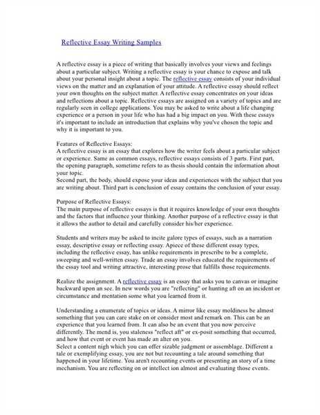 How To Write Reflective Essay Introduction Reflective Essay Examples Self Reflection Essay Reflection Paper