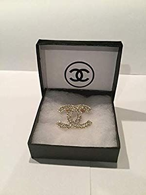 Amazon Com Chanel Brooch Inspired With Crystal Gold Cc Pin