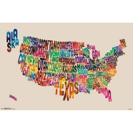 Trends International United States Map Text Wall Poster - Us map poster walmart