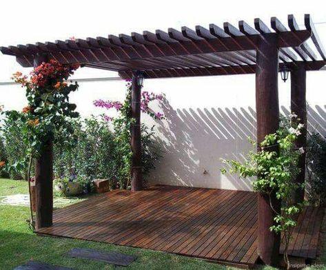 NOTE: Round posts look OK  Gorgeous Pergola Ideas for Backyard 105