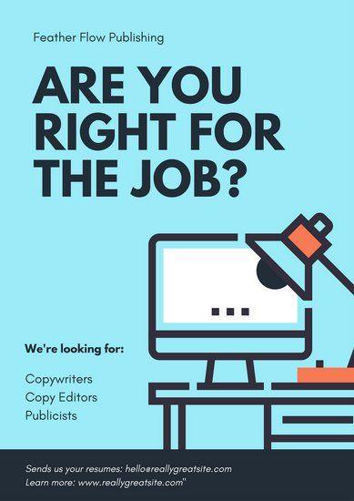 Turquoise Computer Illustration Hiring Poster Hiring Poster Recruitment Poster Design Job Poster
