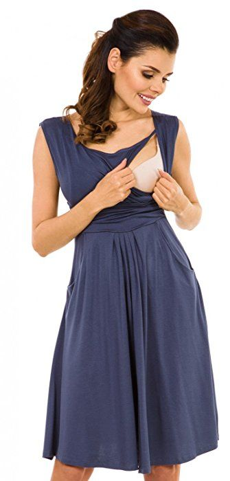 9794ecab2e9 Zeta Ville - Women s Maternity Nursing A-line Dress Pockets - Sleeveless -  500c (Blue Grey