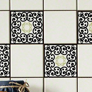 Tile Tattoos White Background Tile Decals made by StickPretty Edwardian Scroll Black RETile Decal Tile Stickers