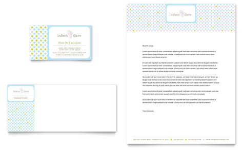 Pediatrician  Child Care  Business Card  Letterhead Template