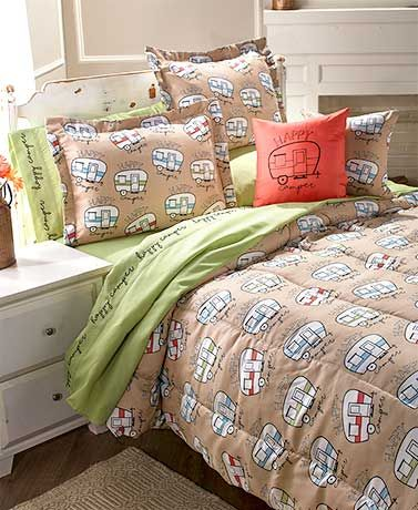 RETRO GLAMPING CARAVAN  DUVET SET CHOICE OF SINGLE DOUBLE KING SIZE  OR CURTAINS