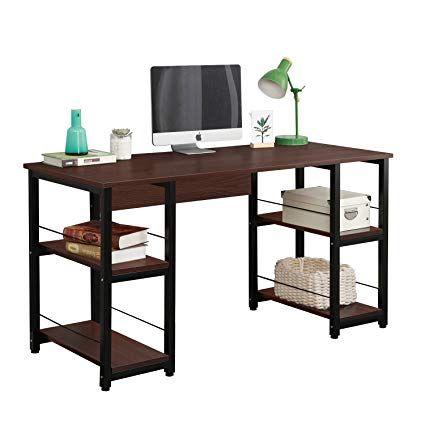 Dlandhome 55 Quot Large Computer Desk With 2 Storage Shelves For Both Side Wooden Home Office Desk Workstation Office Desk Large Computer Desk Desk Shelves