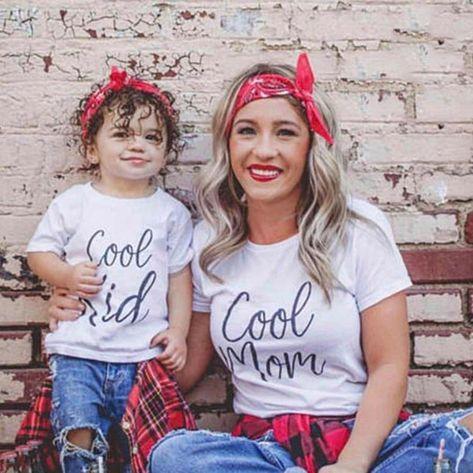 Cool Mom' & 'Cool Kid' Matching Mom & Child Short Sleeve Shirts - Kids S