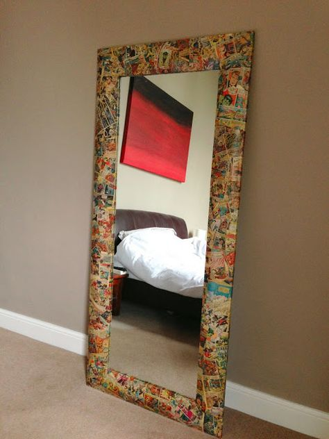 Vintage Marvel comic mirror frame - I could totally make this - comics...glue.. varnish..done!! Exciting!