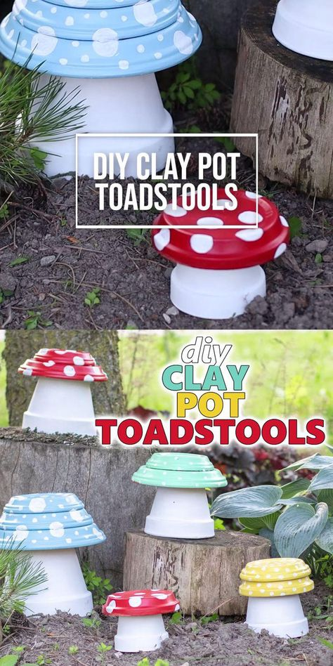 Add a colorful pop to your outdoor space with these adorable clay pot toadstools! #craftsbyamanda