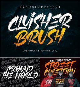 Cluisher Brush Font Brush Font Photo Stock Images Free Fonts