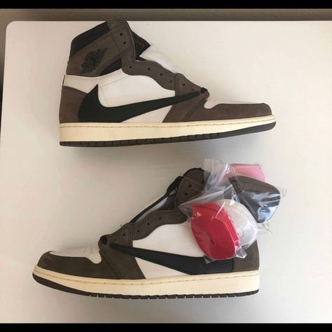 Jordan Travis Scott 1's Brand new and authentic!! Never have been worn. Only serious buyers! Have multiple sizes but it is First come First serve!! Price is negotiable, but only serious offers!! If seriously interested and ready to buy please leave a comment below or offer and I'll be sure to get back to you!! Jordan Shoes Sneakers