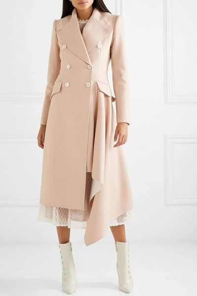 Asymmetric double breasted frayed wool and cashmere blend coat