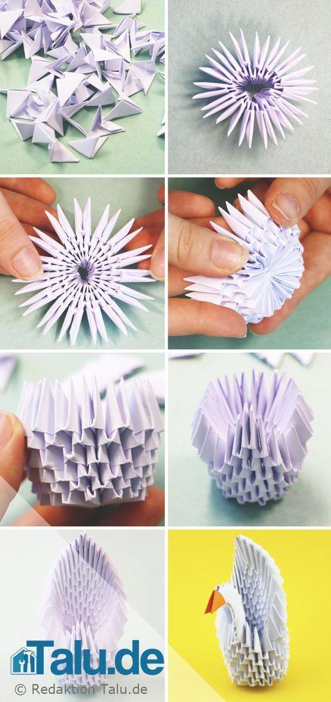 Tangrami Anleitung 3d Origami Schwan Falten Basteln 3d