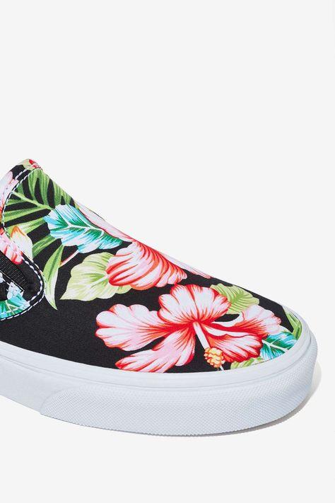 dc1db64c6e Vans Classic Slip-On Sneaker - Black Hawaiian Floral