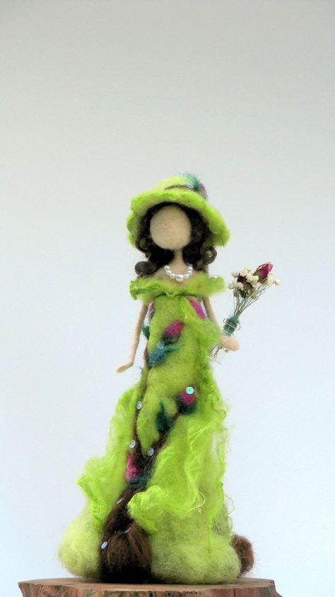 Fantasy Art doll Needle felted Lady with vase Waldorf | Etsy