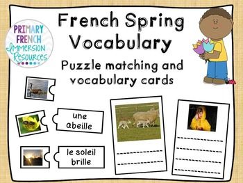French spring matching game and centre cards - le printemps