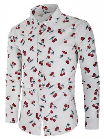 DressU Mens Turn Down Collar Business Plus Size Flower Print Tshirt Top Shirt