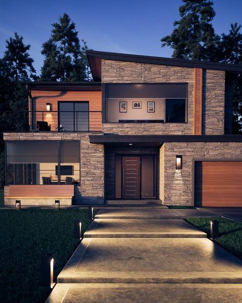 Dream House Exterior, Dream House Plans, Exterior Design Of House, Home Styles Exterior, Modern Exterior Products, Front Design Of House, Wood House Design, Stone Exterior Houses, Luxury Homes Exterior