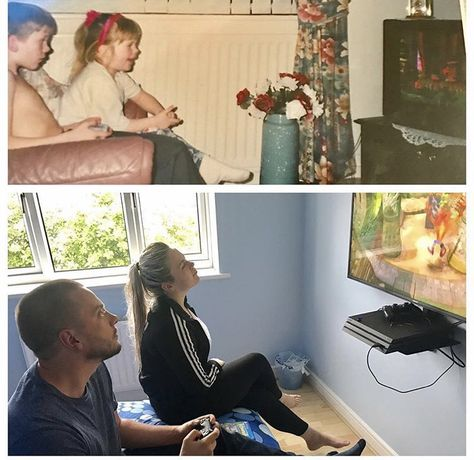 Brother & Sister playing Crash Bandicoot in 1996 and 2017<<<<Some things never change💖