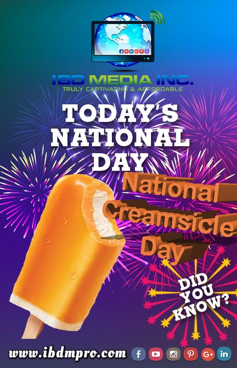 Today is National Creamsicle Day! Take a break from the heat and cool down with an orange creamsicle!  #nationalcreamsicleday #creamsicle #orangecreamsicle #orange #ibdmedia #ibd_media #nationalday #nationaldays #national #august #icecream #cool #cooloff #cooldown #summer #heat #break #didyouknow