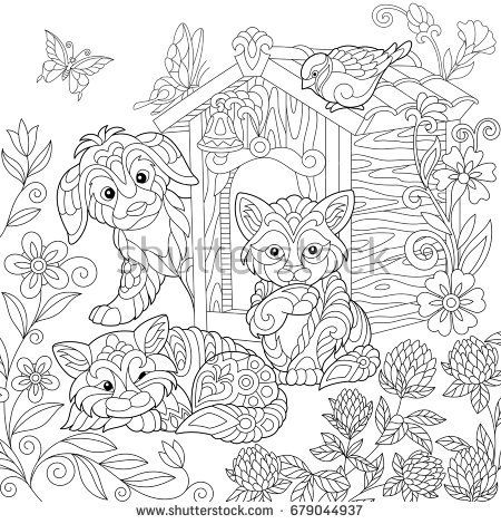 Coloring Page Of Puppy Cat Sparrow Bird Dog Booth Clover