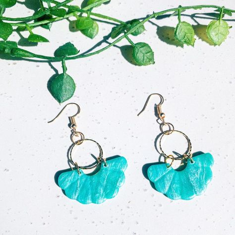 "K & H Collective ✨ on Instagram: ""Turquoise transparent collection. • • • #marbleearrings #blackandgold #statementearrings #statementjewelry #polymerclay…"""