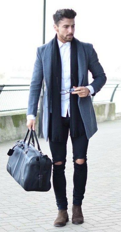 ripped jeans and blazer men