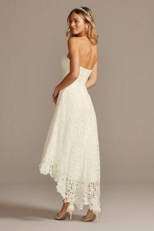 High Low Tea Length Corded Lace Wedding Dress David S Bridal In 2020 Petite Wedding Dress Corded Lace Wedding Dress Wedding Dresses Lace