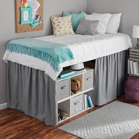 Mainstays Extra Long Extended Dorm Bed Skirt 1 Each Walmart Com Classy Dorm Room Dorm Bed Skirts Dorm Room Storage