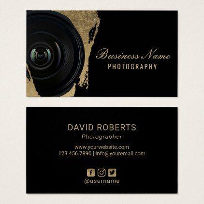 Photographer Modern Black Gold Photography Business Card Zazzle Com Photography Business Cards Wedding Photography Business Card Photography Business