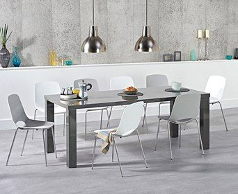 Atlanta 200cm Dark Grey High Gloss Dining Table With Nordic Chrome