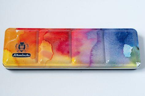24 Colours Schmincke Watercolor Palette 24 Half Pans Limited