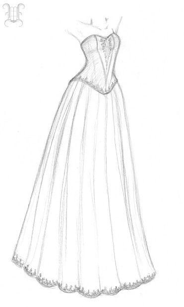 skizzen mädchen mit kleid zeichnen