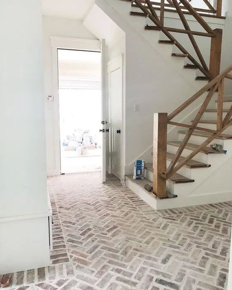From brick style to grout color. From herringbone to horizontal. Find a gallery of inspiration to help design a mortar washed brick floor! Brick Pavers, Brick Flooring, Flooring Ideas, Entryway Flooring, Farmhouse Flooring, Stair Railing, Railing Ideas, Wood Railing, Wood Stairs