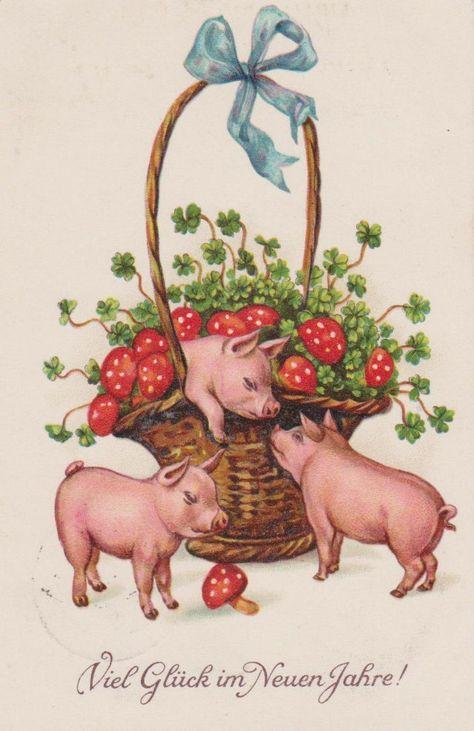 Немецкие новогодние открытки с поросятами, прикольные гифки открытки