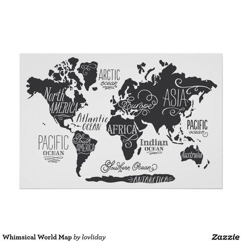 Whimsical World Map Poster
