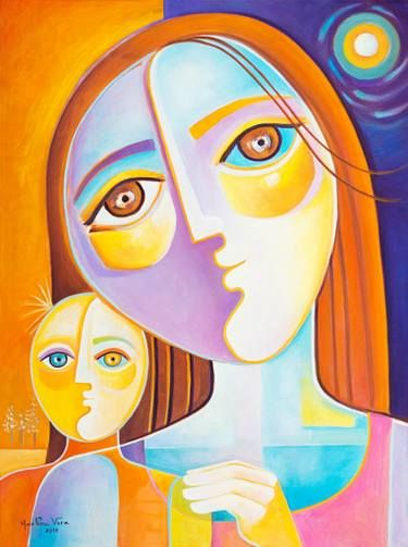 Mother And Child Original Oil Painting Cubism Modern Art Marlina Vera Artwork Cubist Abstract Painting Cubism Art Cubist Modern Art Paintings