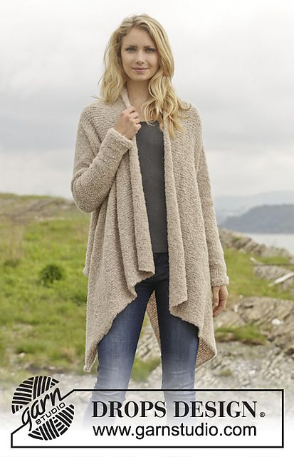 Free knitting pattern for Ballade flowing draped jacket in boucle yarn and more draped front cardigan knitting patterns